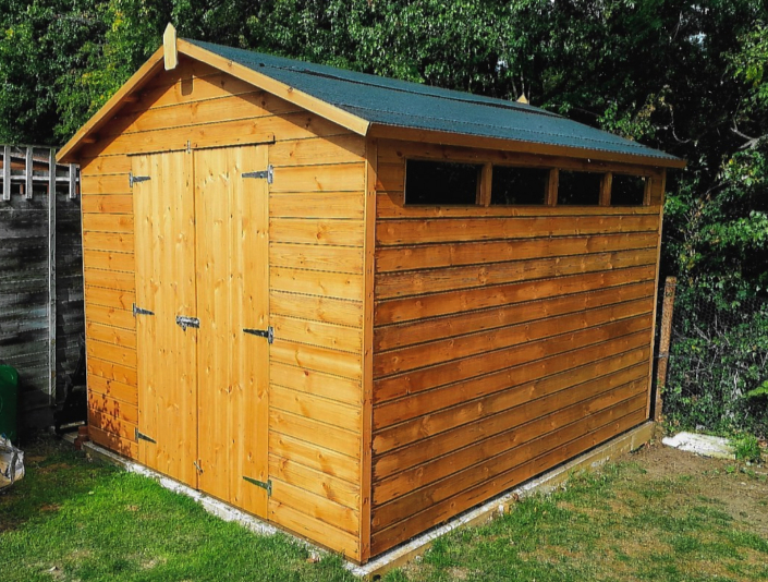 10 x 8 Garden shed with pitched roof and narrow security windows