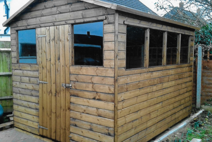 10 x 8 Garden shed with pitched roof and double aspect windows