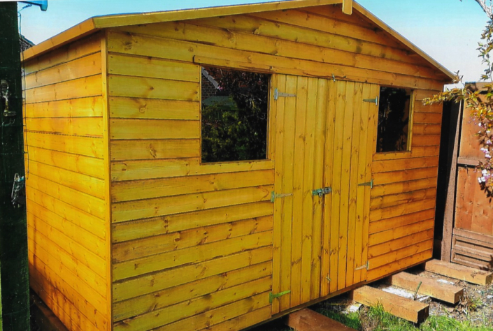 12 x 6 Garden shed with pitched roof and double windows