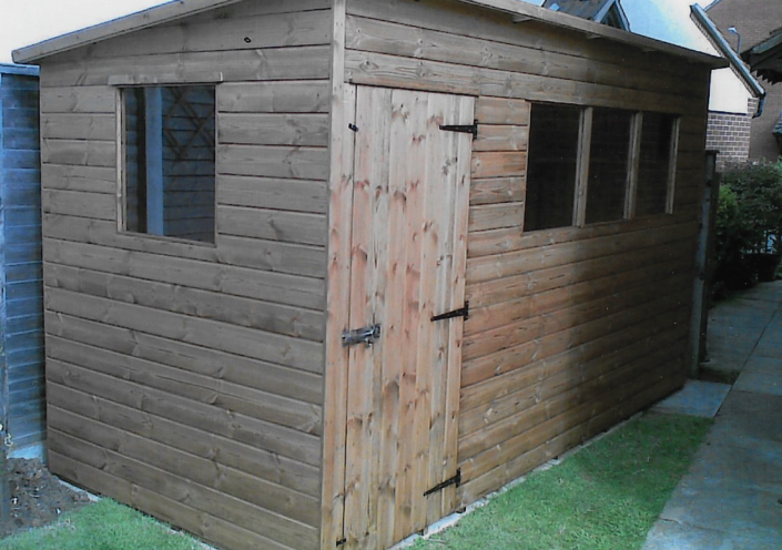 12 x 6 Garden shed pent roof and side door