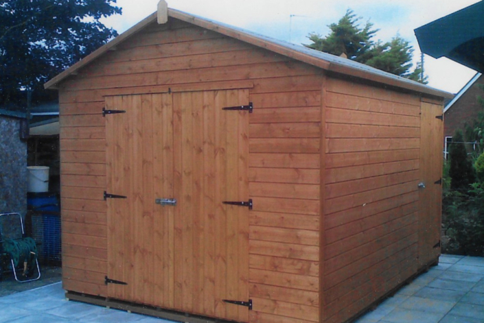 12 x 8 Garden shed workshop combo with pitched roof and double doors