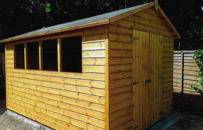 12 x 8 Garden shed with picthed roof windows and fitted roof truss