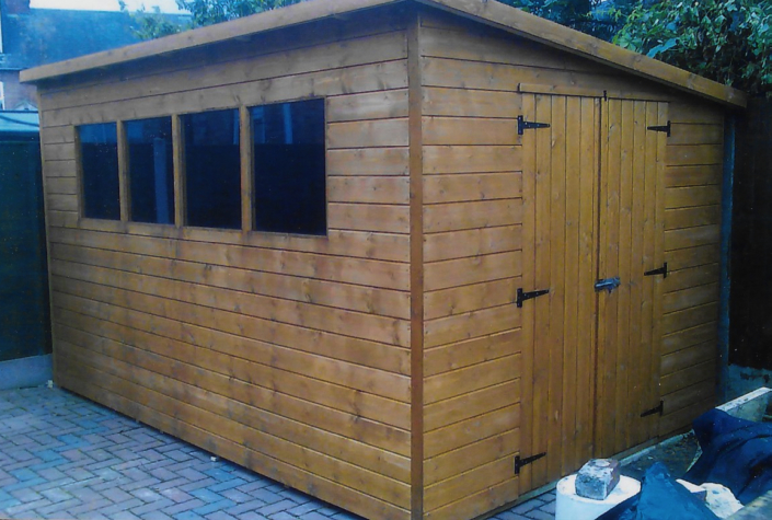 12 x 8 garden shed with pent roof and end doors
