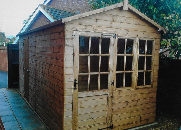 14 x 7 Georgian Summer House Shed Combo