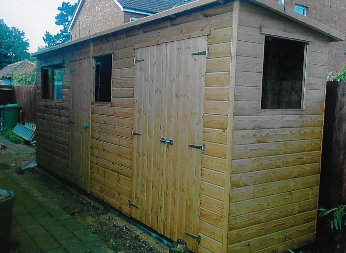 18 x 4 Garden shed Pent Roof and end doors
