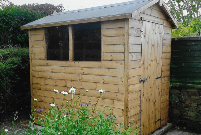 7 x 5 Garden shed with pitched roof and security locks