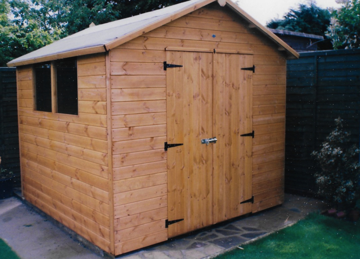 8 x 8 garden shed with pitched roof and double doors