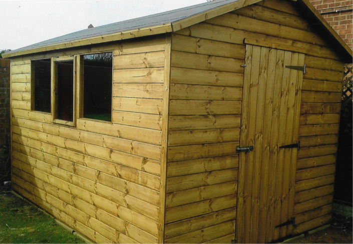 Garden shed pitched roof
