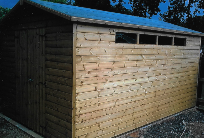 Large shed workshop with security windows