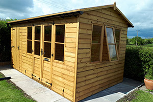 Garden summer house with pitched roof and shed combo