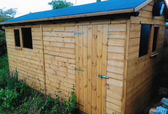 Shed combo with pitched roof and opening windows